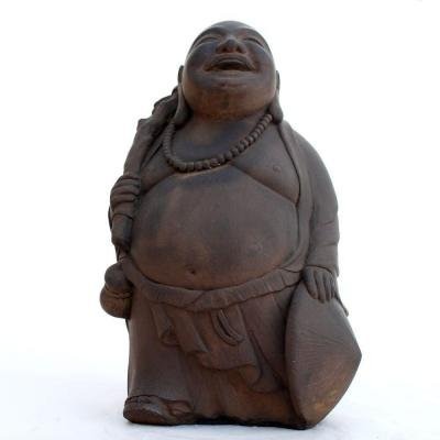 BUDDHA TRAVELING OUTDOOR LAWN GARDEN PATIO STATUE DARK WALNUT CAST STONE 12' TALL