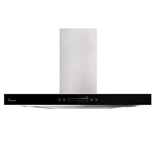 KKT KOLBE Premium-Dunstabzugshaube/Wandhaube / 90cm / Edelstahl/schwarzes Glas/Extra-leise/WIFI/Energieklasse A++ / 10 Stufen/LED-Beleuchtung/TouchSelect Sensortasten / FLAT9005ED