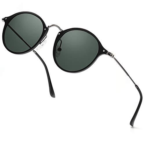 ELIVWR Runde Retro Polarisierte Sonnenbrille für Männer und Frauen Vintage Classic Light Metall Frame, UV 400 (schwarzer Metallrahmen/grün polarisierte Linse)
