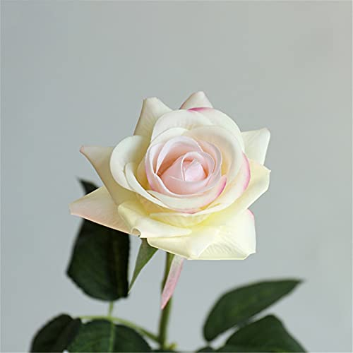 TXXT Künstliche Rose Blume, gefälschte Blumen, Hochzeit Home Party Hotel Wohnzimmer Büro Tisch DIY Dekor Ewige Rosen (Farbe : Light Yellow, Size : 1Pc)