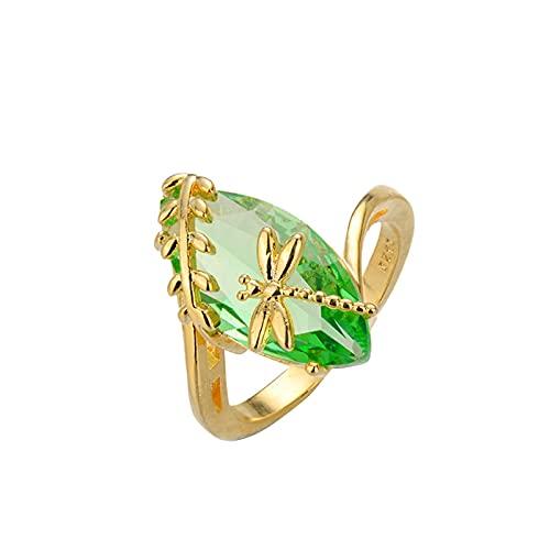 minjiSF Anillo de piedra preciosa natural para mujeres y hombres, temperamento, único, libélula, anual transparente, Dainty, anillo de boda, anillo de compromiso, anillo de diamante (E, 10)