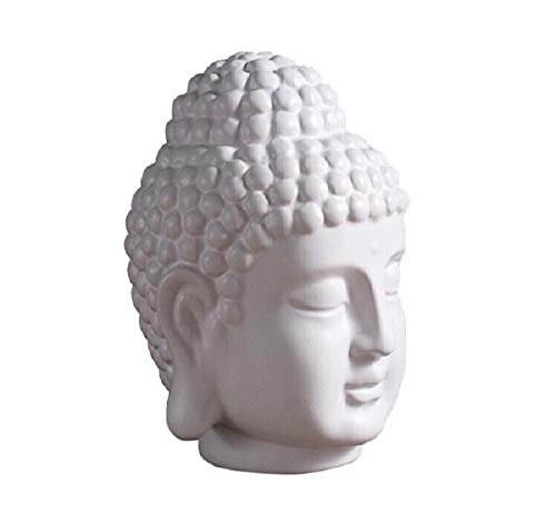 Ceramic Buddha Head Decoration Statues Buddhism Religious Statues Sculpture Decoration Collection for Home and Office Decorations (Matte White)