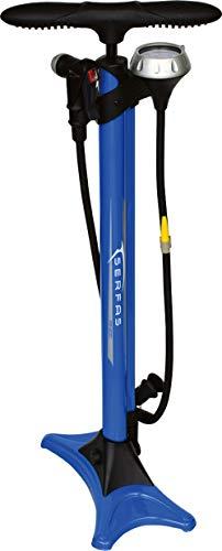 SERFAS(サーファス) 自転車 高圧空気入れ エアフロアポンプ 仏式/米式/英式/ボール/ボートバルブアダプター エアゲージ ロードバイク MTB FP-200 ブルー 046714
