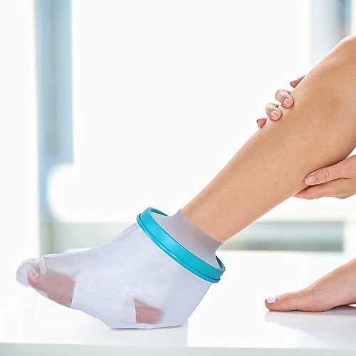 Pie y tobillo - Funda de yeso a prueba de agua para ducha - Protección de baño para pies - Longitud de pie de adulto 28 cm Pegamento PP + material de silicona (PVC azul)