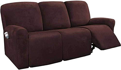 HYLDM Fundas de sofá reclinables de 8 Piezas Fundas de sofá reclinables elásticas de Terciopelo para Fundas de sofá de 3 Cojines Fundas Gruesas, Suaves y Lavables para Muebles con Fondo