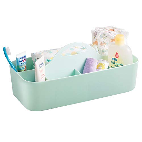 mDesign Plastic Nursery Storage Caddy Tote, Divided Bin with Handle for Child/Kids - Holds Bottles, Spoons, Bibs, Pacifiers, Diapers, Wipes, Baby Lotion - Large - Mint Green