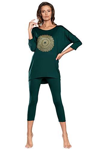 Italian Fashion IF Pigiama Donna Due Pezzi Maniche 3/4+Leggings 3/4 in Viscosa Elegante Sexy Taglie Forti Comoda Estiva (L, Verde)