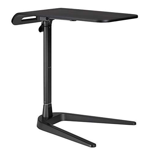 Height Adjustable Sofa Side End Table, Folding Laptop Desk Computer Table C-Shaped Overbed Table Snack Table for Couch, Coffee, Living Room, Bedroom, Small Space - Bronze