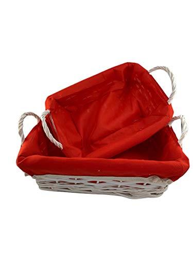 Set 2 Cestas, Paneras rectangulares de Mimbre Blanco con forro de tela rojo.