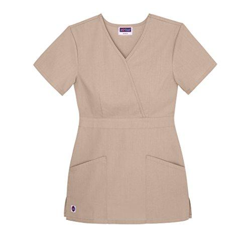 Sivvan Women's Scrubs Mock Wrap Top - S8302 - Khaki - M