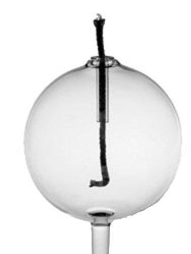 Oberstdorfer Glashütte Öllampe rundePetroleumlampe zum stecken klares Kristallglas mundgeblasen Durchmesser ca. 8 cm Stablänge ca. 5 cm