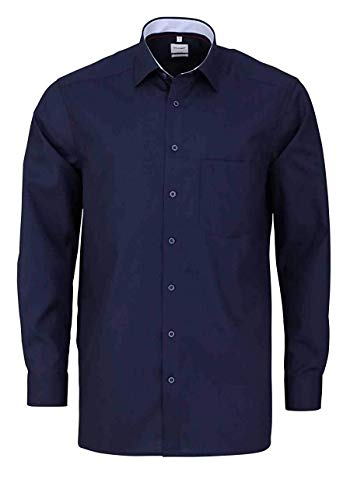OLYMP Luxor Comfort fit Hemd Langarm New Kent Kragen Nachtblau Größe 46