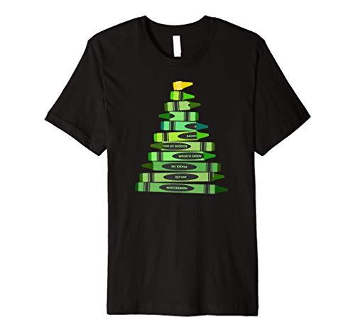 Teacher Christmas Gift Shirt Crayon Tree Premium T-Shirt