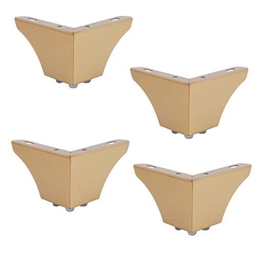 IUYJVR Set mit 4 Metallmöbeln, Sofabettenbeinen, Ersatz-Beistelltischen/TV-Schrank, Schrankfüßen, Edelstahl, mit Schrauben (Gold, 76 mm)