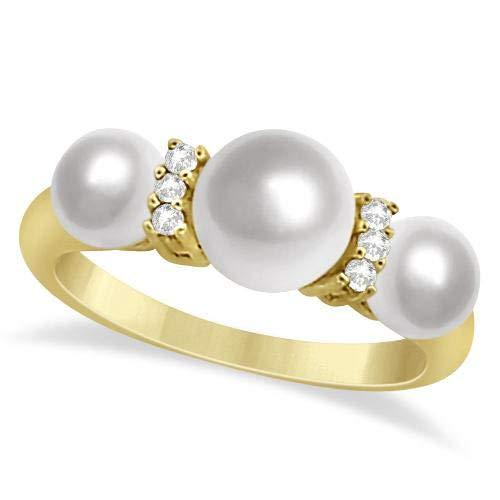 Anillo de perlas y diamantes de agua dulce de tres piedras Oro amarillo de 14k 7-7.5m, Anillo de compromiso de oro amarillo Para siempre, Anillo de bodas, Anillo de promesas