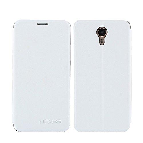 Tasche für Ulefone Power II Hülle, Ycloud PU Ledertasche Metal Smartphone Flip Cover Hülle Handyhülle mit Stand Function Weiß