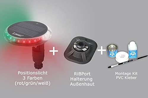 Bengar Set: Positionslicht + RibPort + Kleber Schlauchboot Akku Fernbedienung 3 Farben