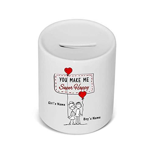 UNIGIFT gepersonaliseerd cadeau - je maakt me super blij geld doos (romantisch ontwerp wit) elke naam bericht uniek - dom schattig grappige novelty liefhebber hart paar ballon