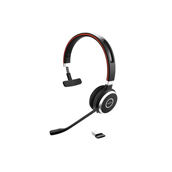 Jabra Evolve 40 MS Mono Casque audio - Casque certifié Microsoft pour VoIP Softphone avec annulation passive du bruit…