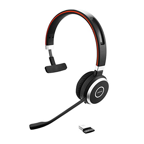 Jabra Evolve 65 Wireless Mono On-Ear Headset – Unified Communications zertifizierte Kopfhörer mit langer Akkulaufzeit – USB Bluetooth Adapter – Schwarz