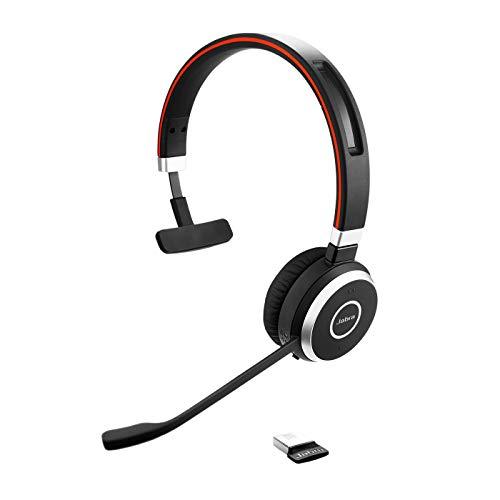 Jabra Evolve 65 Wireless Mono On-Ear Headset – Microsoft zertifizierte Kopfhörer mit langer Akkulaufzeit – USB Bluetooth Adapter – Schwarz