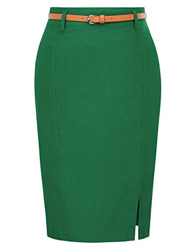 Women's Casual Midi Bodycon Career Pencil Skirt with Belt Size M Dark Green KK856-5