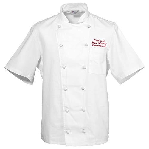 Kochjacke Bäckerjacke weiß kurzarm inklusive Wunschstickerei XS - 5XL