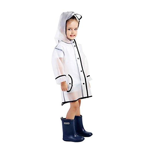 JameStyle26 JameStyle26 Kinder Regenmantel mit Kapuze umweltfreundlich wasserdicht Eva Regenjacke Regenponcho für Jungen oder Mädchen (XL (Körpergröße 120-135 cm), Transparent)