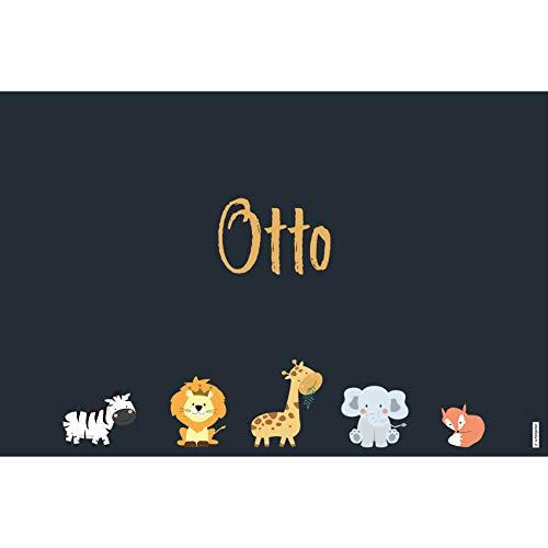 schildgetier Otto Türschild Namensschild Otto Geschenk mit Namen und süßen Tier Motiven 30 x 20 cm Dekoschild Schild mit Tieren
