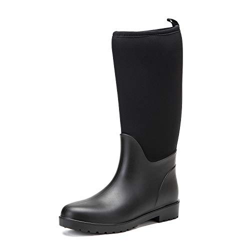 DKSUKO Women's Muck Boots Waterproof High Performance Rubber Rain Boots for Women (8.5 B(M) US, Black)