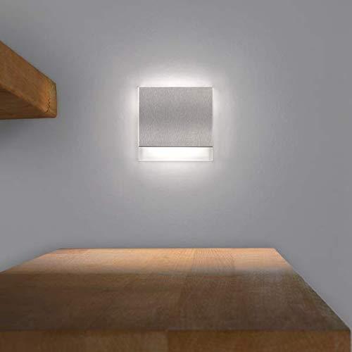 LED Treppenbeleuchtung KID aus Aluminium und Plexiglas für Schalterdoseneinbau 68mm - Kaltweiss 6500k [Stufenbeleuchtung - Wandbeleuchtung - indirekt]
