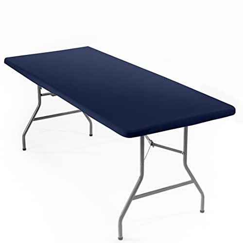 Signature Home 6ft Fitted Tablecloth Rectangle Navy Blue Table Cover – Table Cloth - Fitted Table Covers for 6 Foot Tables. Washable Picnic Table Cover Indoor Outdoor Elastic Tablecloth 30 x 72 inch