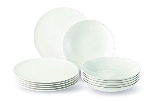 Vivo Newfreshbasic 19-5254-7609 - Vajilla de 12 piezas, porcelana, color blanco, 28,5 x 20,5 x 29 cm, 12 unidades
