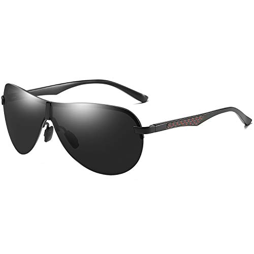 AORON Polarisierte Herren Sonnenbrille Metallrahmen Fahrer Brille Outdoor Sportarten UV400-Schutz (schwarz)