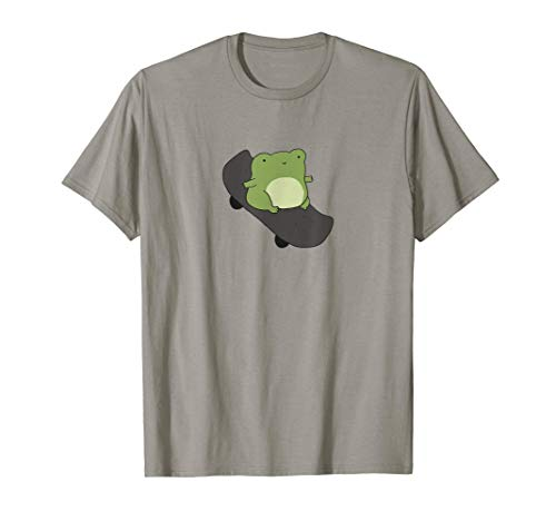 Cute Frog on Skateboard - Cottagecore Aesthetic T-Shirt