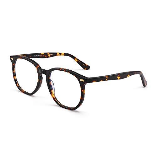 GLINDAR Occhiali da Vista Blu Poligonali Esagonali che Bloccano la Luce Occhiali da Vista per Computer in Acetato Tartaruga