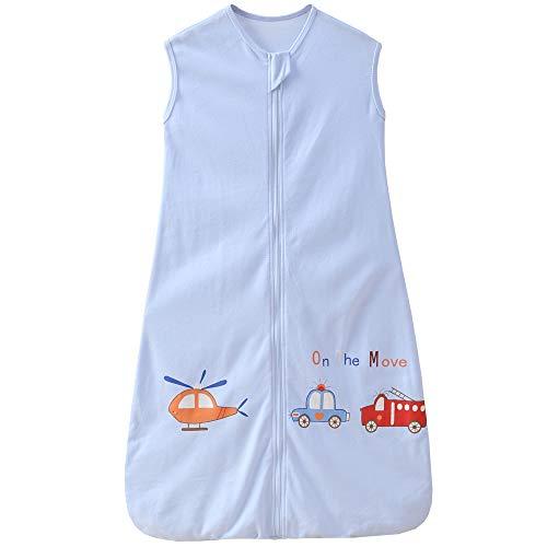 Saco de dormir para bebé de verano, para niña, primavera, recién nacido, de algodón, 0,5 tog. (130 cm (3-6 años), azul avión, bomberos y coche)
