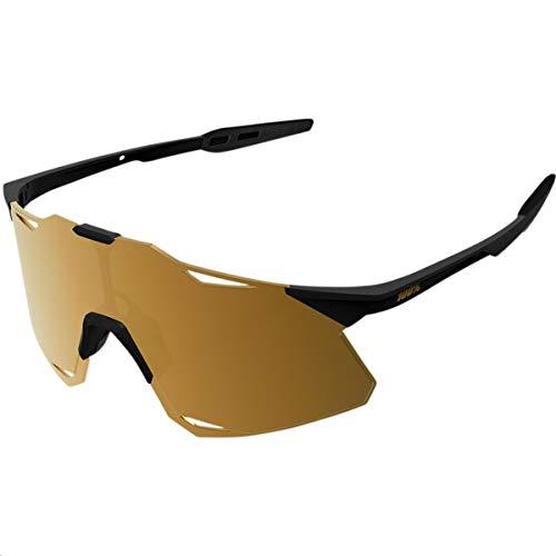100% Hypercraft, Sonnenbrille für Herren, matt-schwarz-gold-verspiegelte Gläser, universell einsetzbar