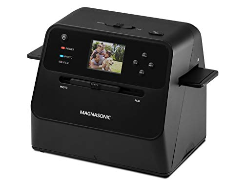 Magnasonic All-in-One Film & Photo Scanner, 14MP Resolution, Converts 4x6 Photos, 35mm/110/126 Film & 135 Slides into Digital JPEGs, Vibrant 2.4