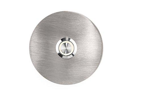 HUBER LED Klingeltaster 12256, 1-fach aufputz/unterputz, rund, Echtmetalll, LED Lichtfarbe warm weiß