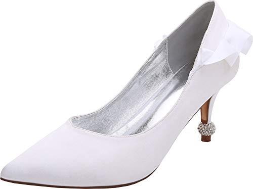Zapatos de boda para mujer con diamantes de imitación, zapatos de corte sin cordones en punta de novia, color Plateado, talla 38.5 EU