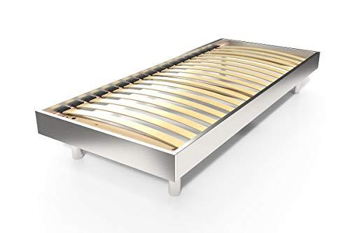 ABC MEUBLES - Lattenrost Kit Noé Holz - 1 PLÄTZ - NOE1 - Grau Aluminium, 90x190