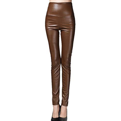hibote Herbst Winter Frauen Legging Skinny PU Leder Bleistift Leggings schlanke Kunstleder Hose PU Fleece Hose Kaffee XL