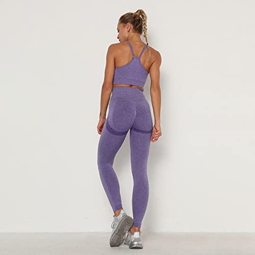 YEESEU Sport Traje Mujer Yoga Conjunto sin Fisuras Fitness Leggings Gimnasio Ropa sólido Deportes Sujetador Entrenamiento Leggings Deportes Desgaste para Mujeres Gimnasio (Color : Indigo, Size : M)