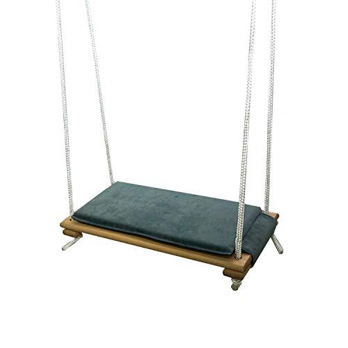 Skyline Holz Schaukelsitz, Erwachsene Kinder Garten Schaukel für Innen und Außenbereich mit Einstellbares Seil bis 150 kg (Natürlich & Graphit)