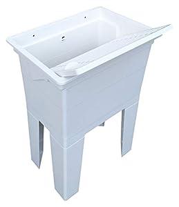 Adventa - Lavadero monobloque de Resina PP para Exterior, Blanco, 59 x 41 x 75 cm