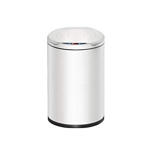XINHU Cubo de Basura Contenedor de Basura Inteligente Contenedor de Basura automático for el hogar con contenedor de Basura de inducción con Tapa, tamaño: 25X45cm, Blanco Perla