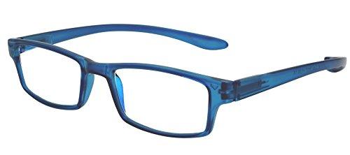 TBOC Gafas de Lectura Presbicia Vista Cansada – Graduadas +3.50 Dioptrías Montura de Pasta Azul Patillas Extra Largas para Colgar Cuello Hombre Mujer Unisex Lentes de Aumento para Leer Ver de Cerca