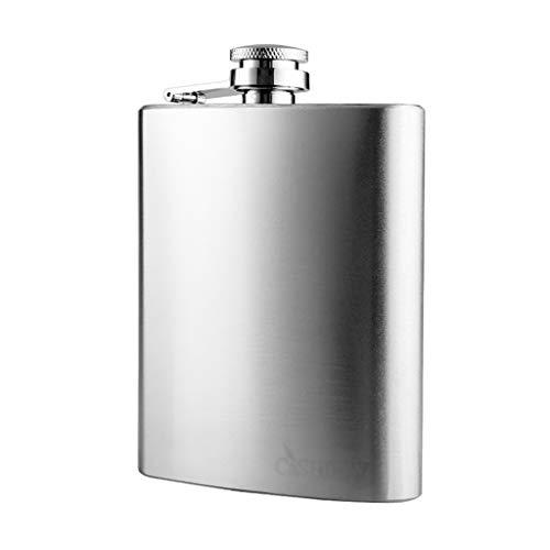 Stanley bouteille flacon poche à la hanche en plein air whisky bouteille en acier inoxydable flacon étanche meilleur cadeau Cruche (Color : Silver, Size : 17.3 * 12.7 * 3cm)