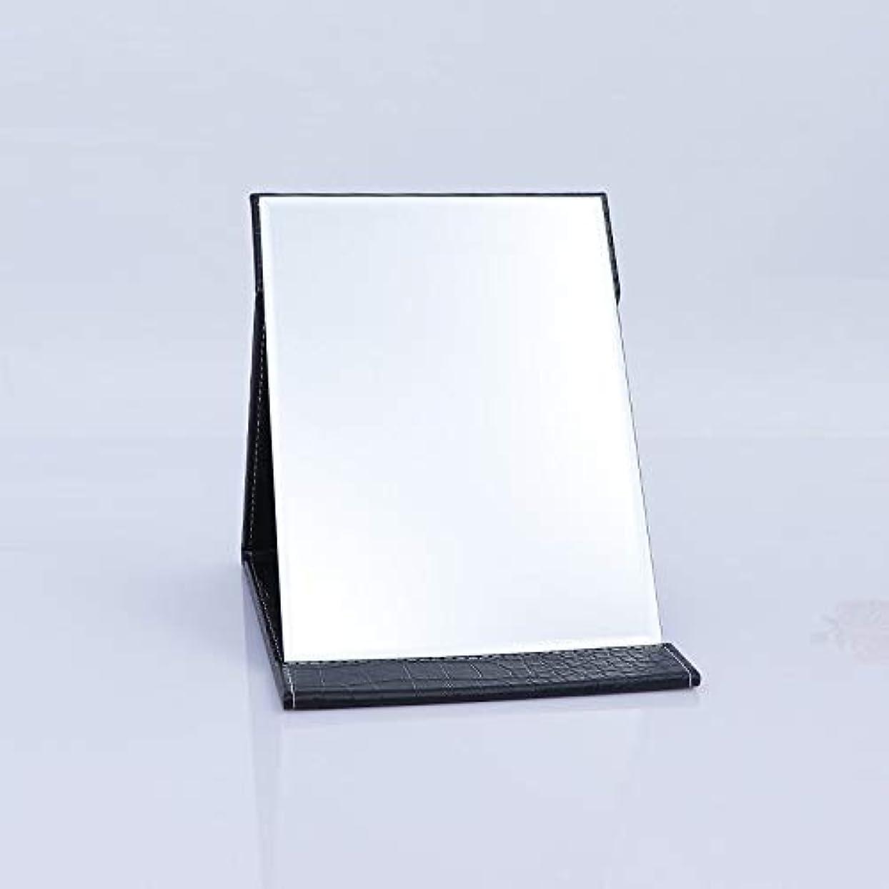 厚くする刺激する位置づけるTakelablaze 化粧鏡 折立ミラー 卓上スタンドミラー 折りたたみミラー PUレザー ブラック